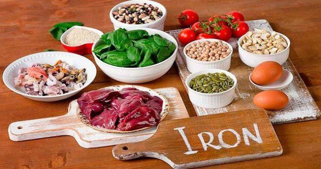 продукты с большим количеством железа