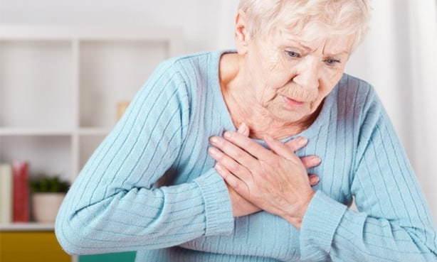 Давящая, жгучая боль в груди у пожилой женщины
